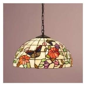 63994 Butterfly 1 Light Medium Tiffany Ceiling Pendant