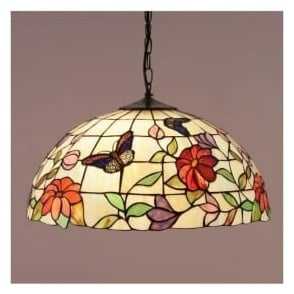 63995 Butterfly 3 Light Large Tiffany Ceiling Pendant