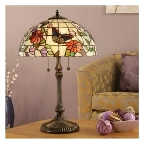 63997 Butterfly 2 Light Large Tiffany Table Lamp