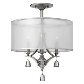 Hinkley HK/MIME/SF Mime 3 Light Ceiling Light Bushed Nickel