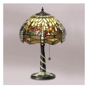 64094 Green Dragonfly 1 Light Medium Tiffany Table Lamp