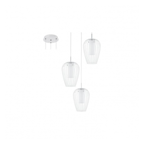 94341 Vencino 3 Light Ceiling Pendant White Chrome