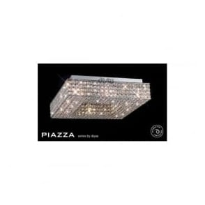 IL30432 Piazza 8 Light Crystal Flush Ceiling Light Polished Chrome
