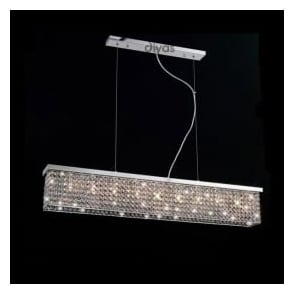 IL30434 Piazza 9 Light Crystal Flush Ceiling Pendant Polished Chrome