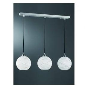 FL2290/3/983 Vetross Ice Wavy 3 Light Ceiling Pendant Satin Nickel