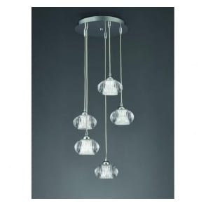 FL2344/5 Tizzy 5 Light Ceiling Pendant Chrome