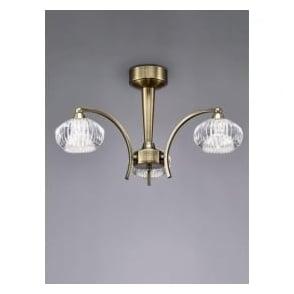 FL2336/3 Ripple 3 Light Semi-Flush Ceiling Light Bronze