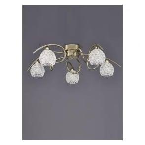 FL2348/5 Springa 5 Light Semi-Flush Ceiling Light Bronze