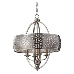 Feiss FE/ZARA4-L Zara 4 Light Ceiling Pendant Brushed Steel