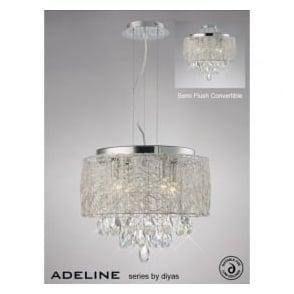 IL31160 Adeline 4 Light Crystal Ceiling Pendant Polished Chrome