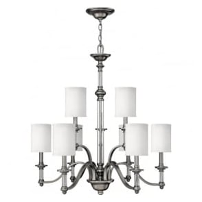 Hinkley HK/SUSSEX9 Sussex 9 Light Ceiling Light Brushed Nickel