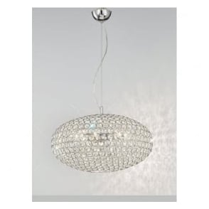 FL2273/6 Marquesa 6 Light Crystal Ceiling Pendant Polished Chrome