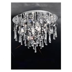 CF5716 Jazzy 4 Light Crystal Semi-flush Ceiling Light Polished Chrome