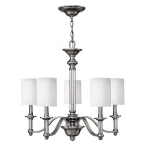 Hinkley HK/SUSSEX5 Sussex 5 Light Ceiling Light Brushed Nickel