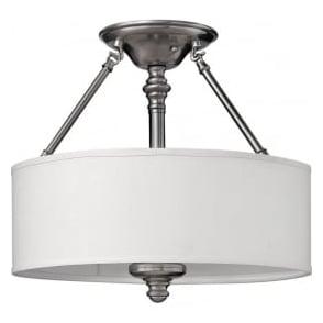 Hinkley HK/SUSSEX/SF Sussex 3 Light Ceiling Light Brushed Nickel