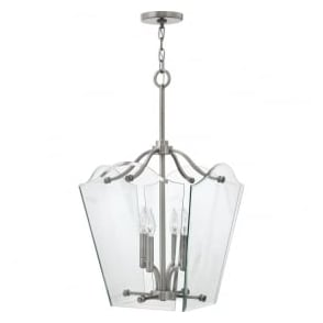 Hinkley HK/WINGATE/P/M Wingate 4 Light Pendant Lantern Polished Antique Nickel