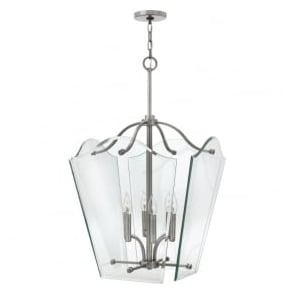 Hinkley HK/WINGATE/P/L Wingate 6 Light Pendant Lantern Polished Antique Nickel