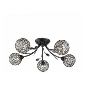 6575-5BC Bellis II 5 Light Semi Flush Ceiling Light Black Chrome