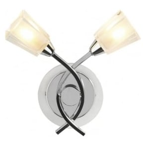 AUS0950 Austin 2 light modern wall light clear/frosted glass polished chrome finish switched