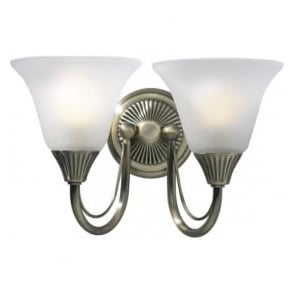 BOS09 Boston 2 Light Switched Traditional Wall Light Antique Brass Finish Complete With Acid Etched Glass Shades