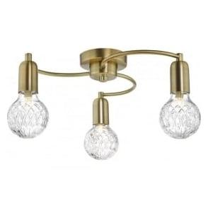 Dar WRE5375 Wrexham 3 Light Ceiling Light Antique Brass
