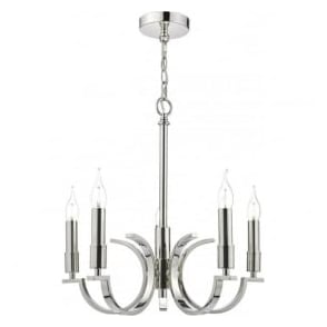Dar ORF0538 Orford 5 Light Ceiling Light Polished Nickel