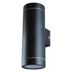 ALGU10WL2SQ BK 2 Light Outdoor Black Wall Fixed IP44 Square Base