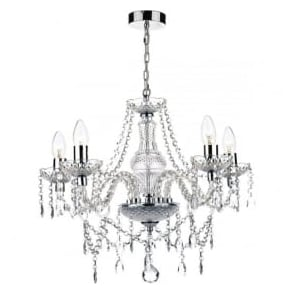KAT0550 Katie 5 light traditional chandelier acrylic crystal finish