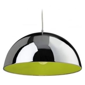 FirstLight 8622CHGR Bistro 1 Light Ceiling Pendant Chrome/Green