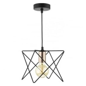 Dar MID0122 Midi 1 Light Bar Pendant Black and Copper