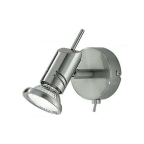 Franklite SPOT8881 Scintilla 1 Light Switched Wall Spotlight Satin Nickel