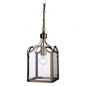 Firstlight 8637AB Monarch 1 Light Lantern Pendant Antique Brass
