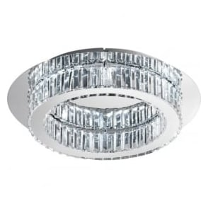Eglo 39015 Corliano LED Flush Ceiling Light Polished Chrome