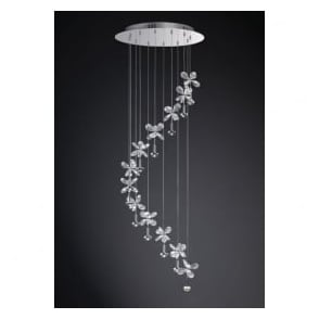 Diyas IL31143 Aviva 12 Light Ceiling Pendant Polished Chrome