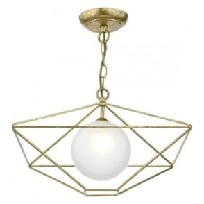 Dar ORS0135 Orsini 1 Light Ceiling Pendant Antique Gold