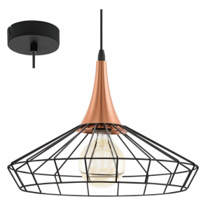 Eglo 49605 Loggans 1 Light Ceiling Pendant Black/Copper