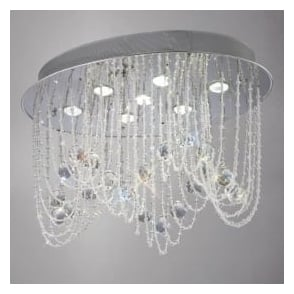 IL31391 Camilla 7 Light Crystal Ceiling Light Polished Chrome