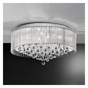 Franklite FL2160/8 Spirit 8 Light Crystal Ceiling Light Polished Chrome