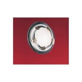 83197 Planet3 1 light traditional flush ceiling light satin glass floral pattern chrome finish