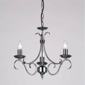 2030-3AS Bernice 3 Light Ceiling Pendant Light Antique Silver