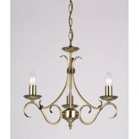 2030-3AN Bernice 3 Light Ceiling Pendant Light Antique Brass