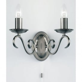 2030-2AS Bernice 2 Light Switched Wall Light Antique Silver