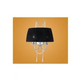 89035 Diadema 2 light modern crystal chandelier wall light black organza shade chrome finish