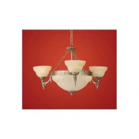 85857 Marbella 6 light traditional ceiling light pendant burnished brass finish