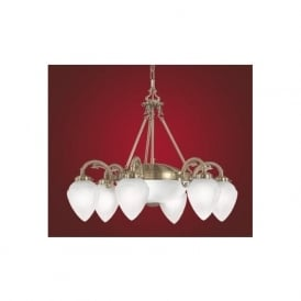 82743 Imperial traditional 8 light ceiling light pendant burnished brass finish