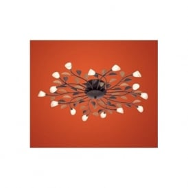90737 Campania 15 light modern flush ceiling light antique brown finish with limes white glass shades