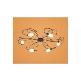 90697 Gerbera 1 6 light modern flush ceiling light antique brown/gold finish glass shades
