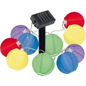 47339 Solar Light 10 light modern outdoor LED 'Lampion' solar light string plastic coloured finish
