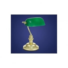 90967 Banker 1 light traditional table lamp brass finish green coated glass pull switch