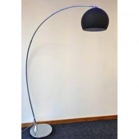 LRFLOORBLACK 1 Light Modern Floor Lamp Black And Polished Chrome